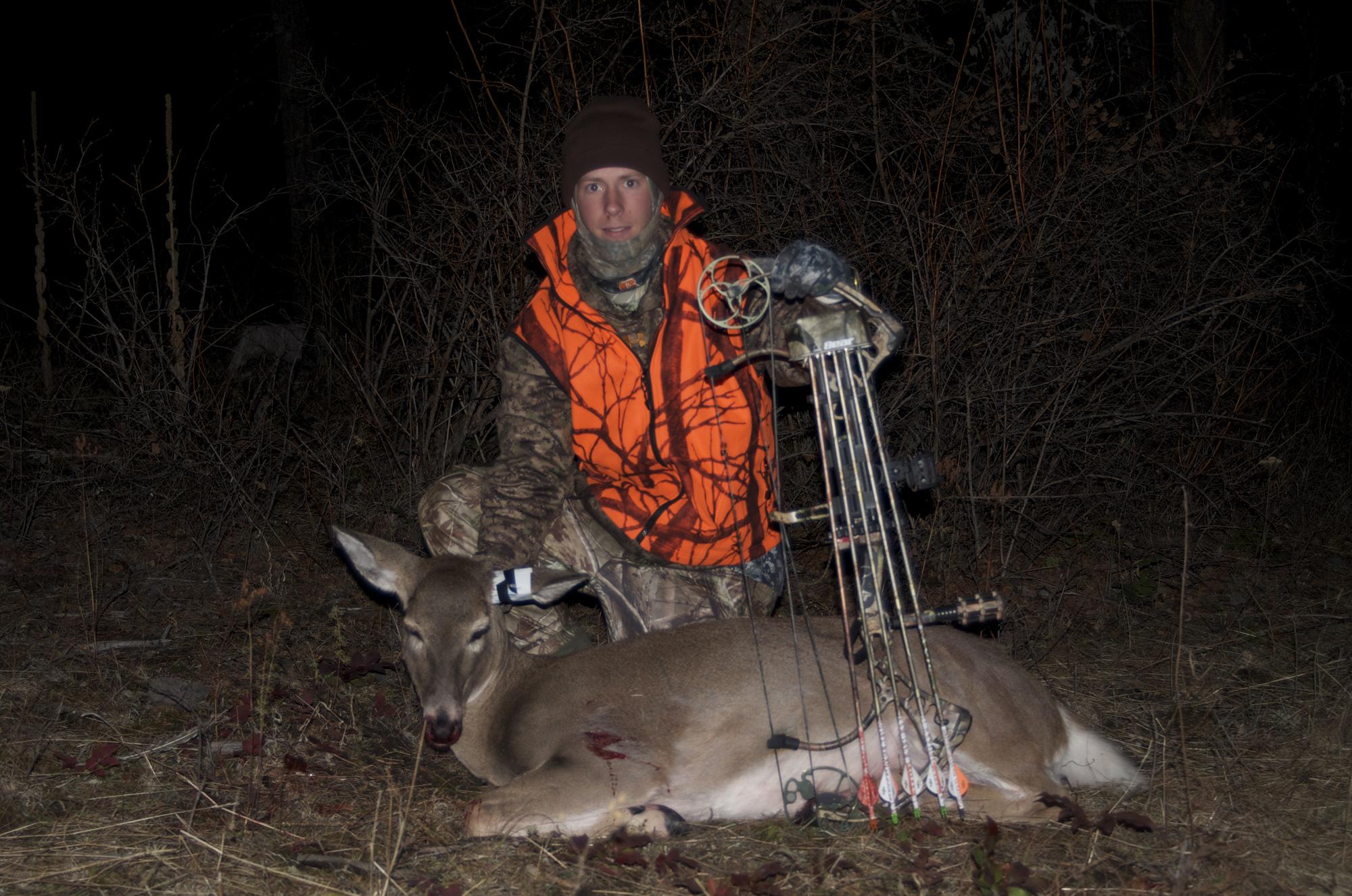 Montana Wild, Bear Carnage, Travis Boughton, G5 T3 broadhead, NW Montana Deer Hunting, Whitetail Doe, deer heart shot, easton FMJ axis arrow, trophy ridge hitman 7, Sitka outerwear, Danner Pronghorn, Russell Outdoors Apparel, Montana Hunting region 170