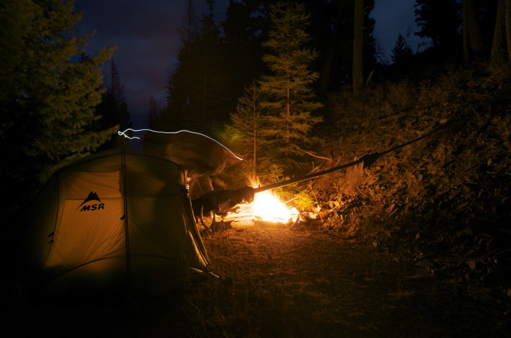 camping in the wind, nightime imagery, drying your sitka gear