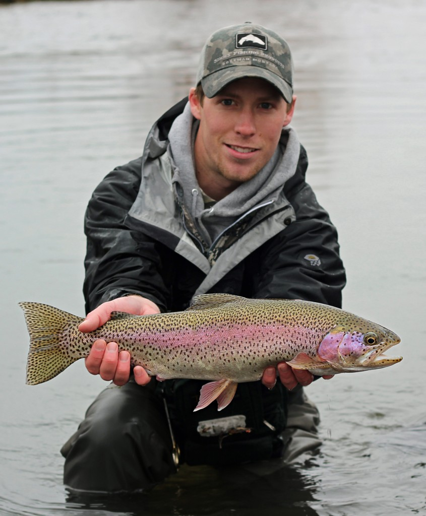 rainbow trout, monster, montana, wild, AK, streamer, rain, winter