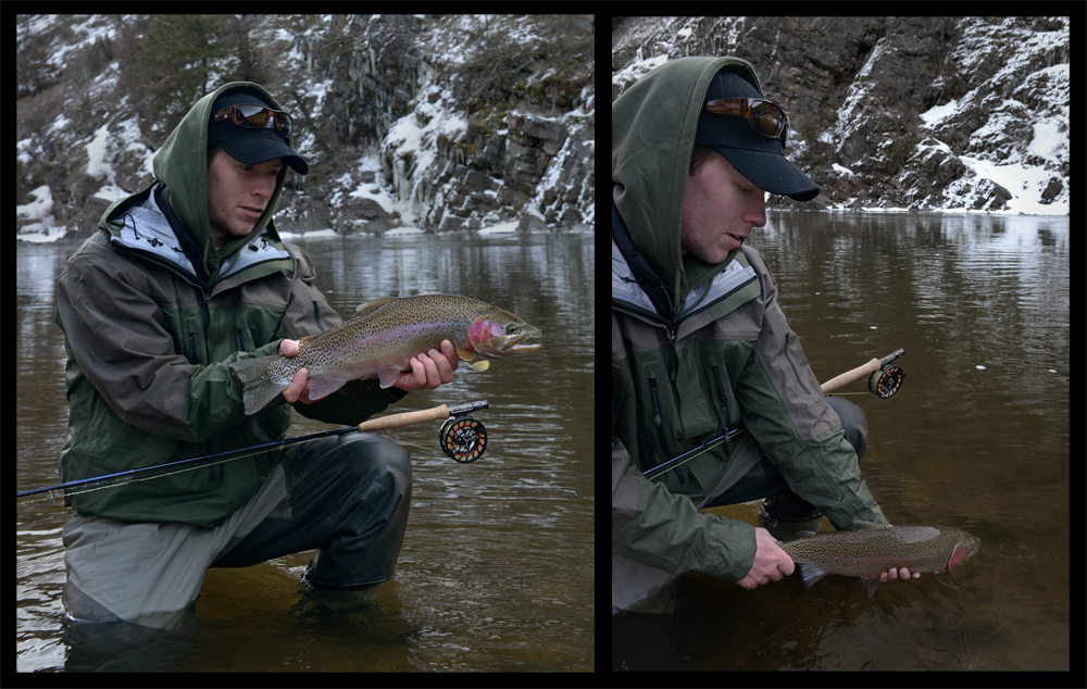 rainbow, winter, frozen, trout, free fly, apparel, orvis, guide, pro, jacket